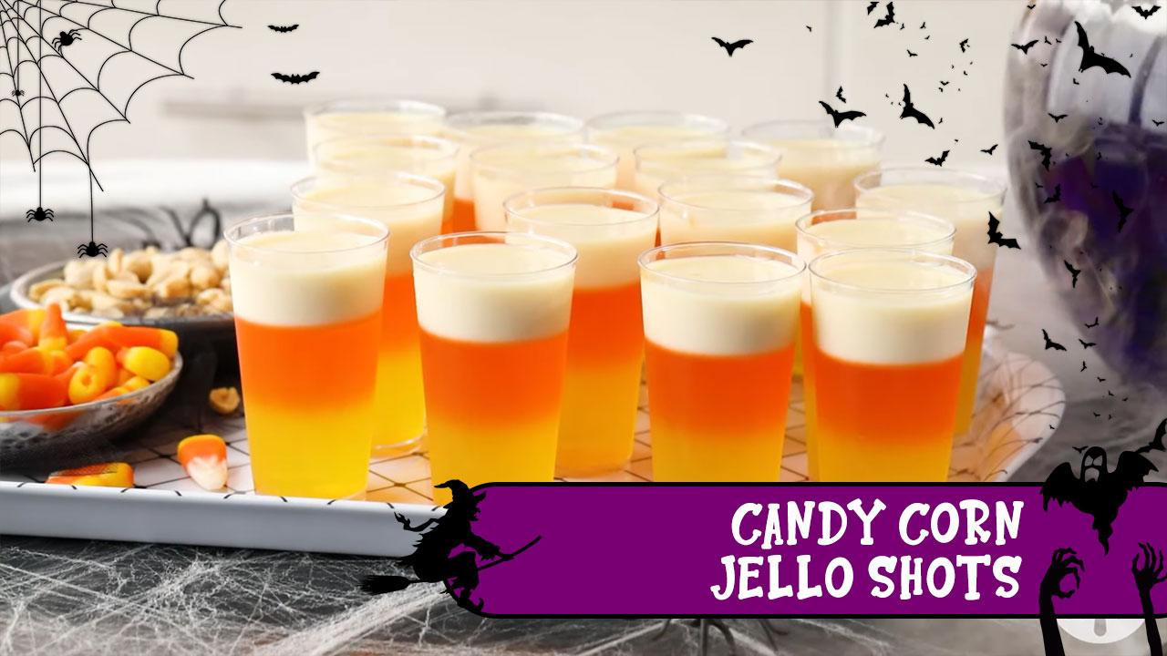 Candy Corn Jello Shots (dengan alkohol)